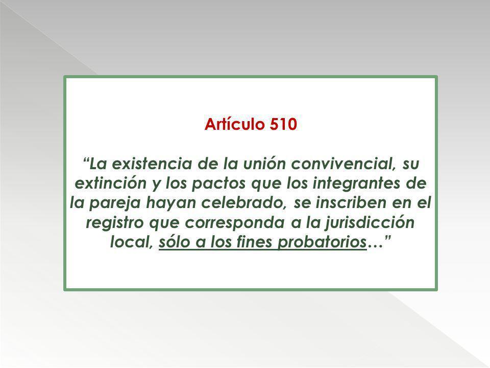 Artículo 510 La existencia de la unión convivencial, su extinción y los pactos que los integrantes de la pareja hayan celebrado, se inscriben en el re