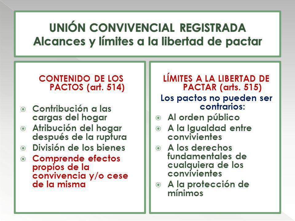 CONTENIDO DE LOS PACTOS (art. 514) Contribución a las cargas del hogar Atribución del hogar después de la ruptura División de los bienes Comprende efe