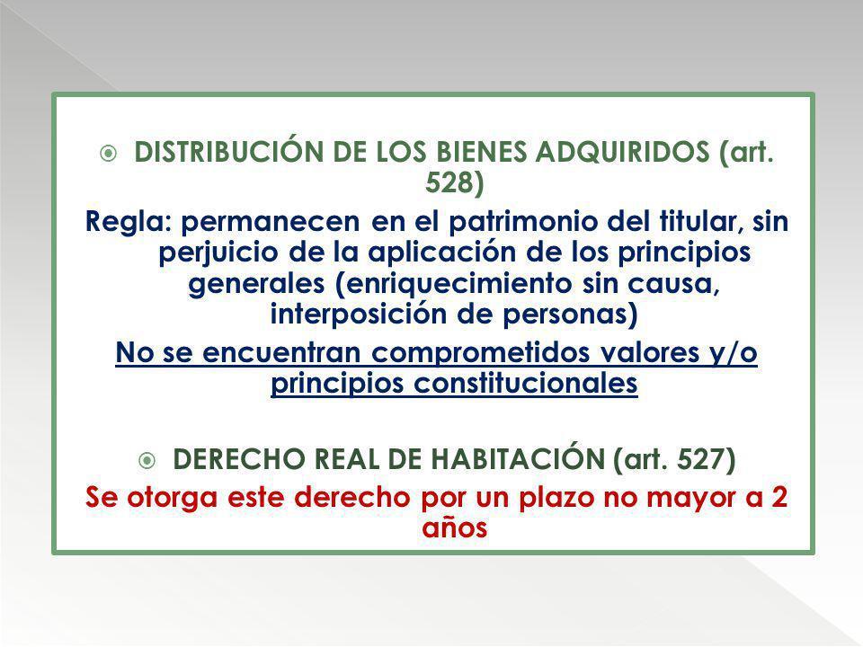 DISTRIBUCIÓN DE LOS BIENES ADQUIRIDOS (art. 528) Regla: permanecen en el patrimonio del titular, sin perjuicio de la aplicación de los principios gene