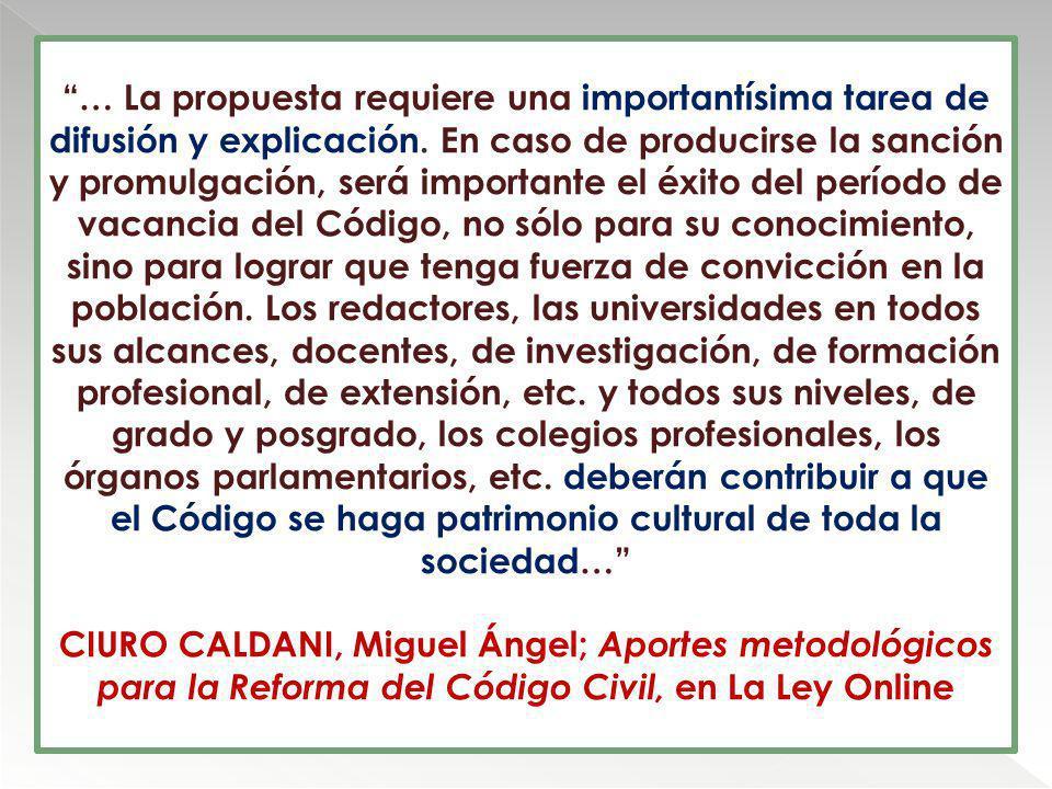 … La propuesta requiere una importantísima tarea de difusión y explicación. En caso de producirse la sanción y promulgación, será importante el éxito