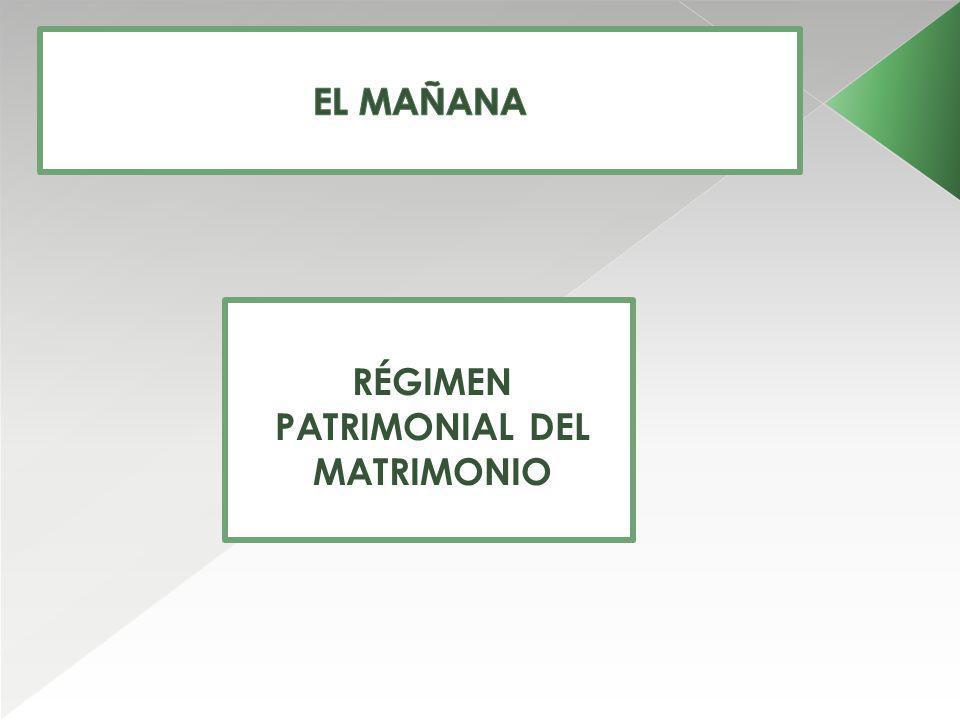 RÉGIMEN PATRIMONIAL DEL MATRIMONIO