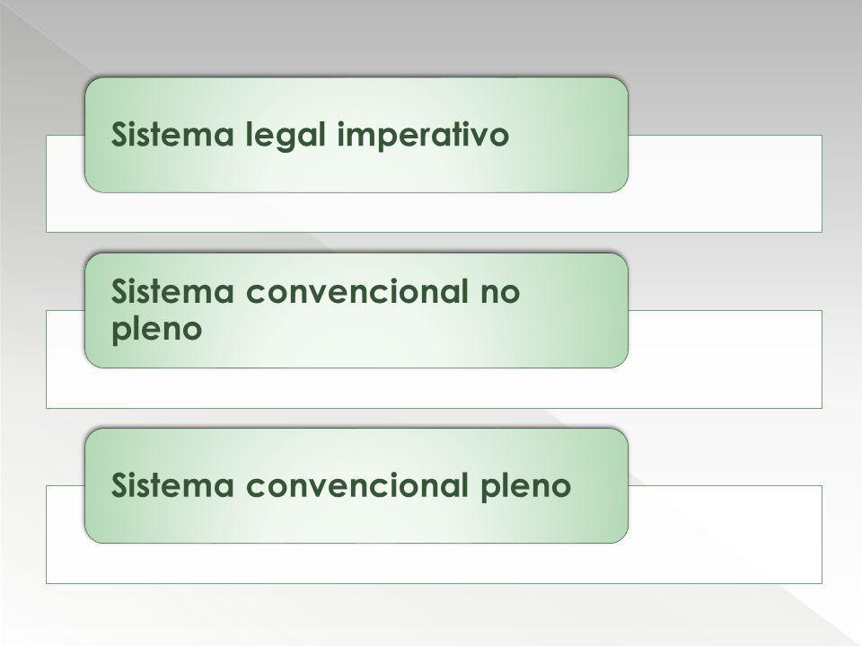 Sistema legal imperativo Sistema convencional no pleno Sistema convencional pleno