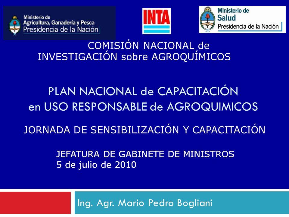 Ing. Agr. Mario Pedro Bogliani PLAN NACIONAL de CAPACITACIÓN en USO RESPONSABLE de AGROQUIMICOS COMISIÓN NACIONAL de INVESTIGACIÓN sobre AGROQUÍMICOS