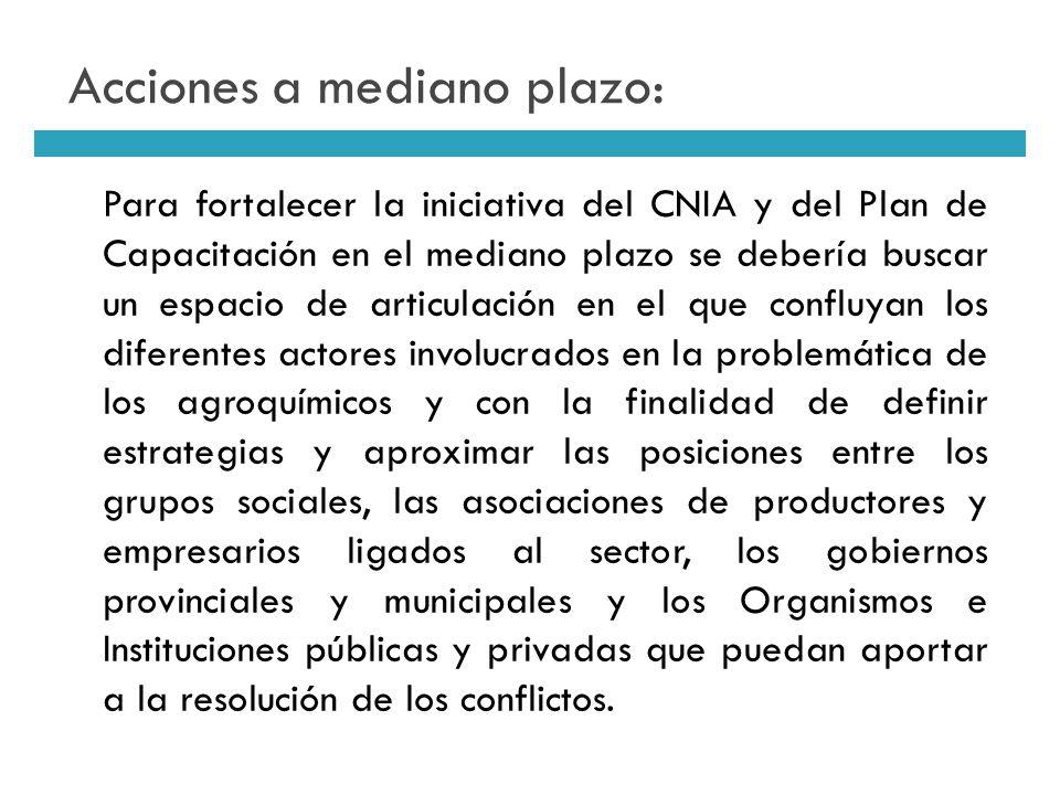 Acciones a mediano plazo: Para fortalecer la iniciativa del CNIA y del Plan de Capacitación en el mediano plazo se debería buscar un espacio de articu
