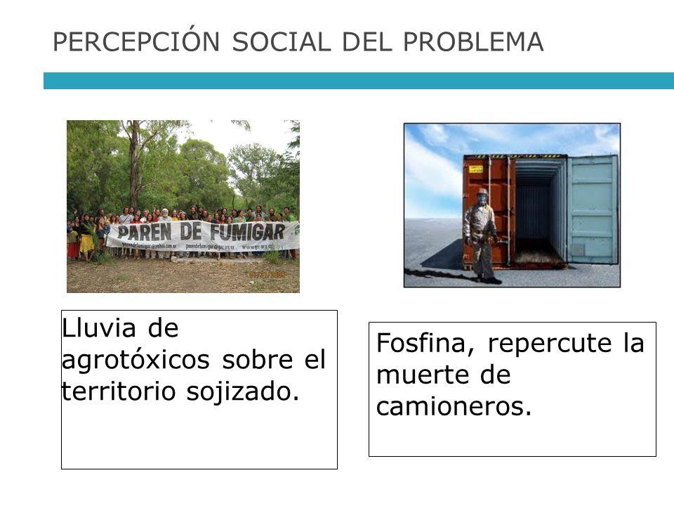 PERCEPCIÓN SOCIAL DEL PROBLEMA Lluvia de agrotóxicos sobre el territorio sojizado. Fosfina, repercute la muerte de camioneros.