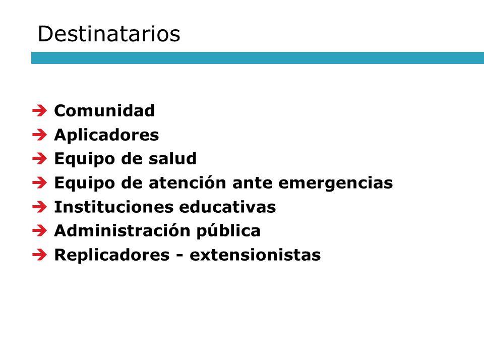 Comunidad Aplicadores Equipo de salud Equipo de atención ante emergencias Instituciones educativas Administración pública Replicadores - extensionista