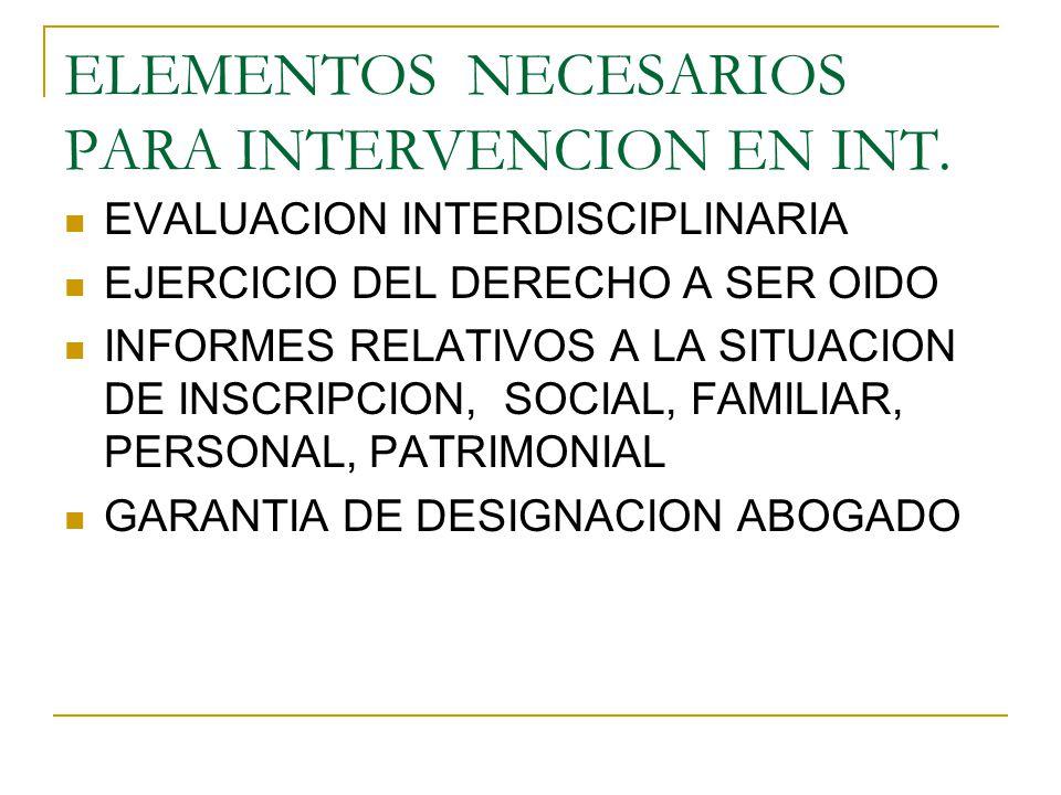 ELEMENTOS NECESARIOS PARA INTERVENCION EN INT.