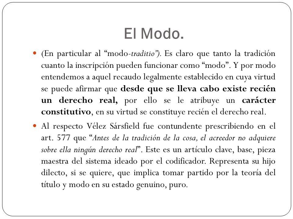 El Modo.(En particular al modo-traditio).