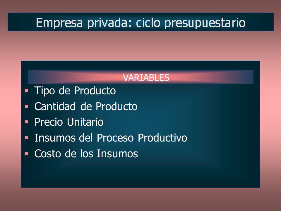 Tipo de Producto Cantidad de Producto Precio Unitario Insumos del Proceso Productivo Costo de los Insumos VARIABLES