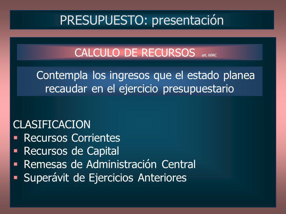 CLASIFICACION Recursos Corrientes Recursos de Capital Remesas de Administración Central Superávit de Ejercicios Anteriores PRESUPUESTO: presentación C