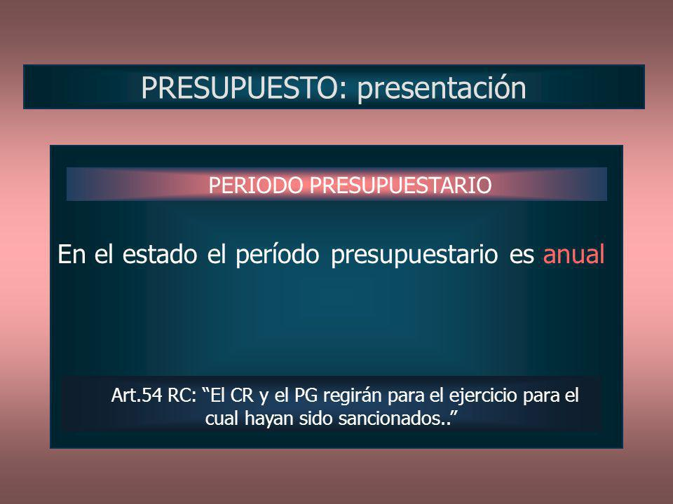 En el estado el período presupuestario es anual PRESUPUESTO: presentación PERIODO PRESUPUESTARIO Art.54 RC: El CR y el PG regirán para el ejercicio pa
