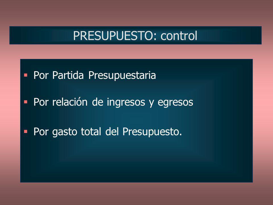 Por Partida Presupuestaria Por relación de ingresos y egresos Por gasto total del Presupuesto. PRESUPUESTO: control