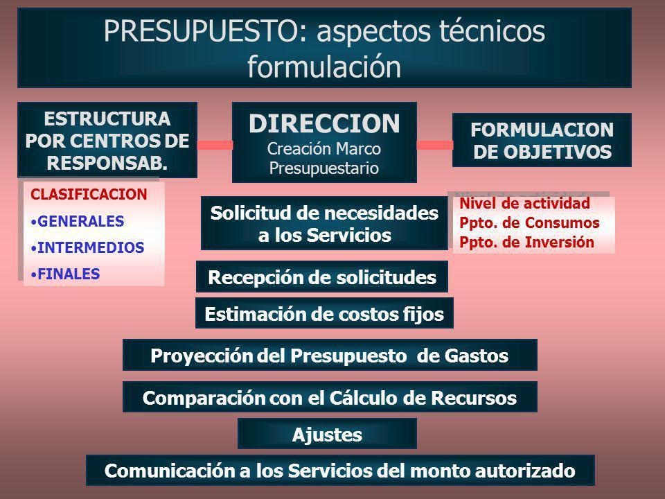 PRESUPUESTO: aspectos técnicos formulación DIRECCION Creación Marco Presupuestario ESTRUCTURA POR CENTROS DE RESPONSAB. FORMULACION DE OBJETIVOS Solic