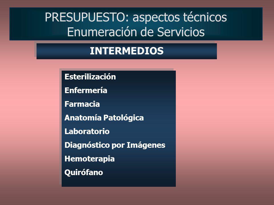 PRESUPUESTO: aspectos técnicos Enumeración de Servicios Esterilización Enfermería Farmacia Anatomía Patológica Laboratorio Diagnóstico por Imágenes He