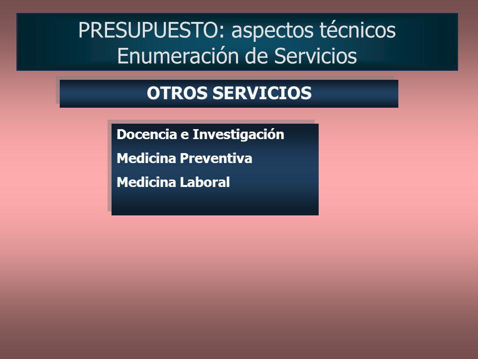 PRESUPUESTO: aspectos técnicos Enumeración de Servicios Docencia e Investigación Medicina Preventiva Medicina Laboral Docencia e Investigación Medicin