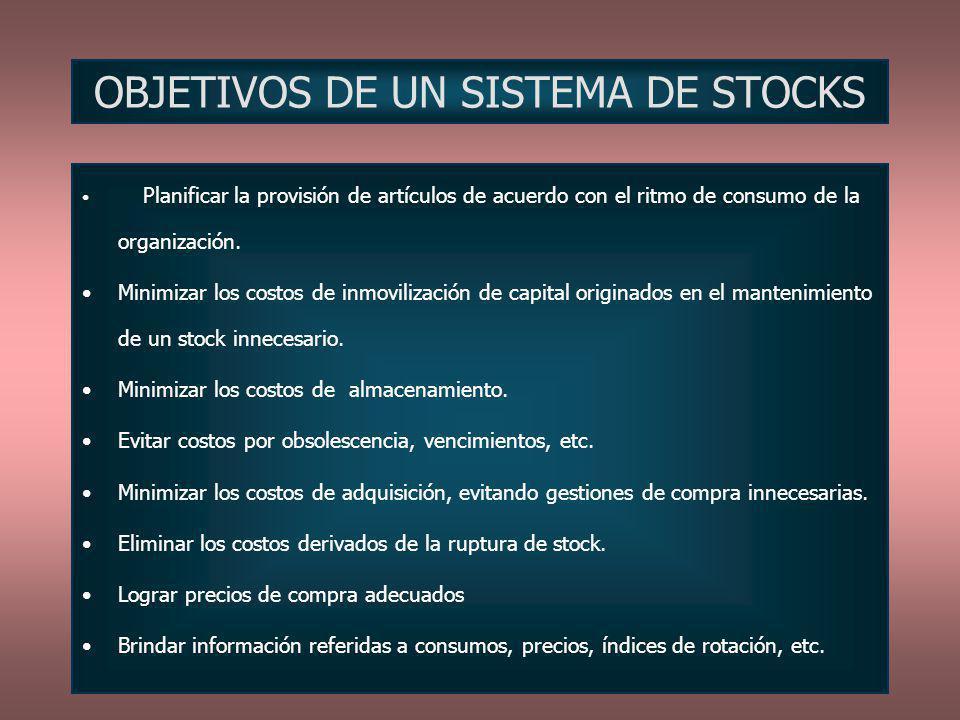 OBJETIVOS DE UN SISTEMA DE STOCKS Planificar la provisión de artículos de acuerdo con el ritmo de consumo de la organización. Minimizar los costos de
