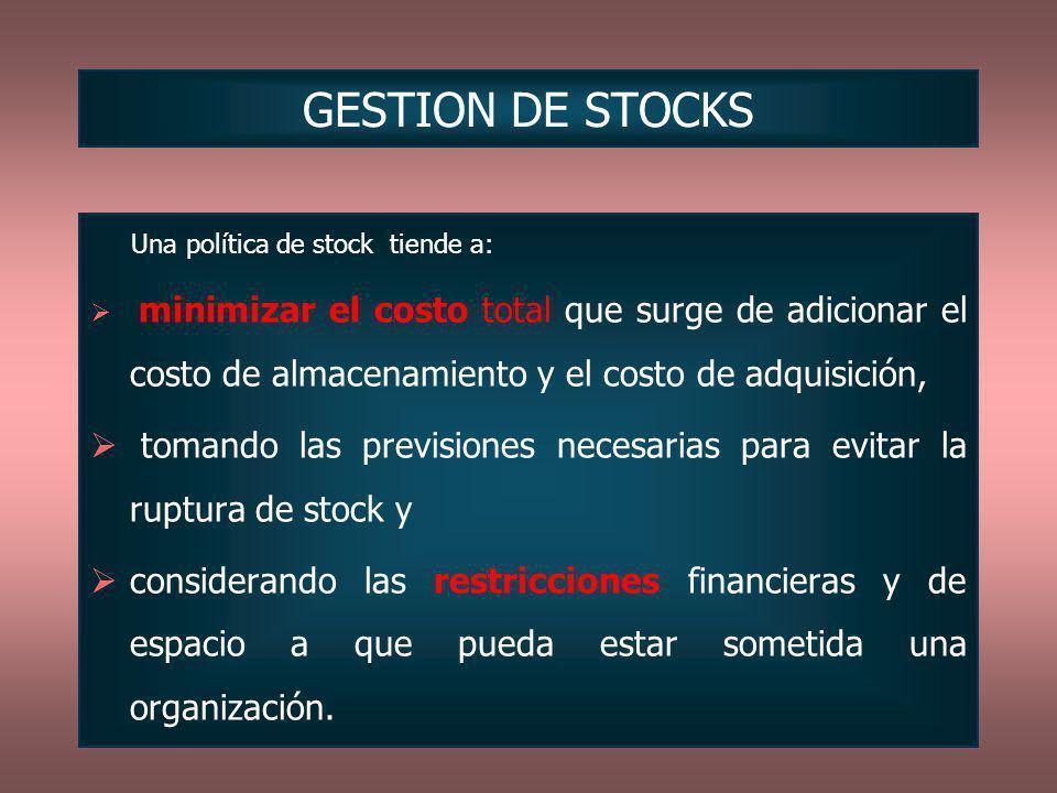 Una política de stock tiende a: minimizar el costo total que surge de adicionar el costo de almacenamiento y el costo de adquisición, tomando las prev