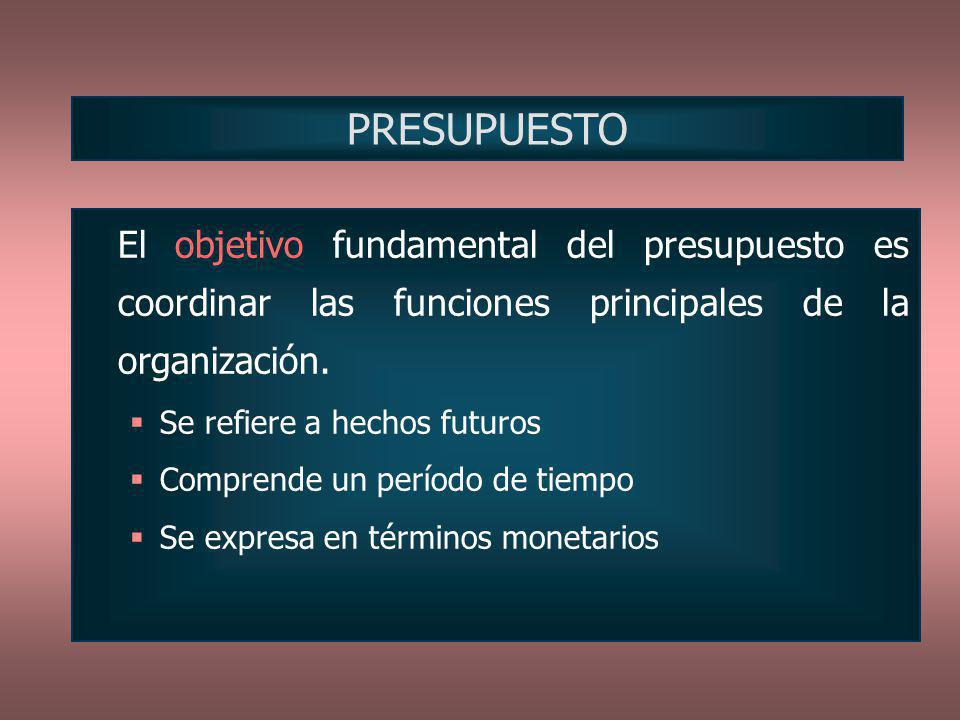 El objetivo fundamental del presupuesto es coordinar las funciones principales de la organización. Se refiere a hechos futuros Comprende un período de