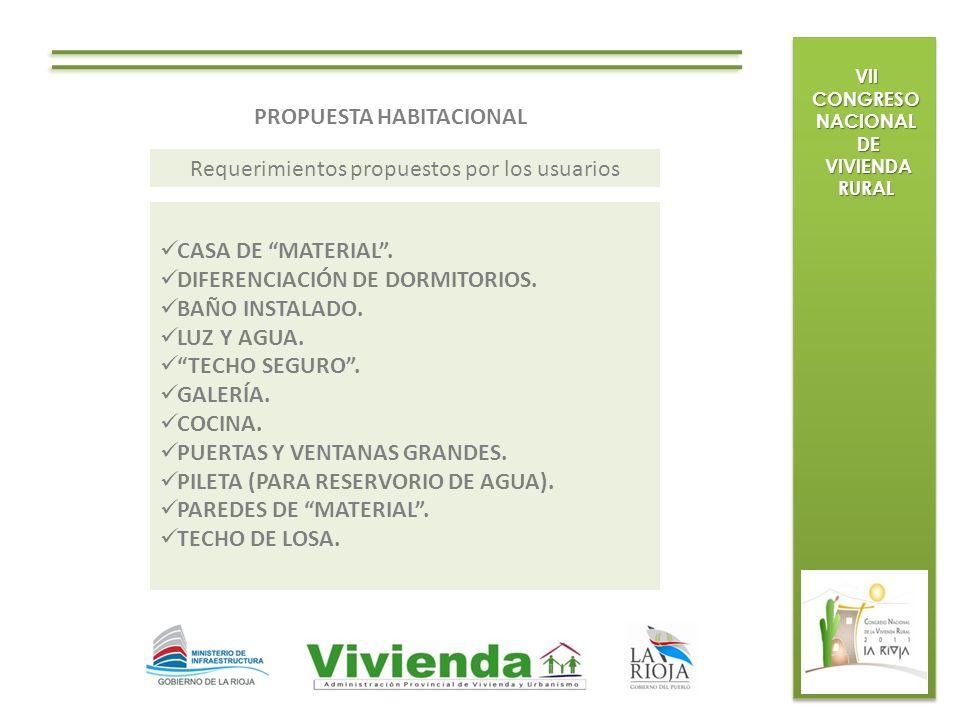 VII CONGRESO NACIONAL DE DE VIVIENDA RURAL VIVIENDA RURAL PROPUESTA HABITACIONAL CASA DE MATERIAL. DIFERENCIACIÓN DE DORMITORIOS. BAÑO INSTALADO. LUZ