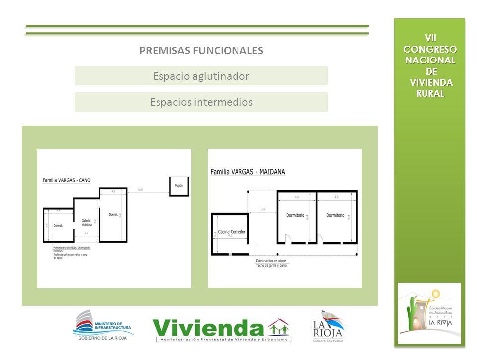 VII CONGRESO NACIONAL DE DE VIVIENDA RURAL VIVIENDA RURAL PREMISAS FUNCIONALES Espacio aglutinador Espacios intermedios