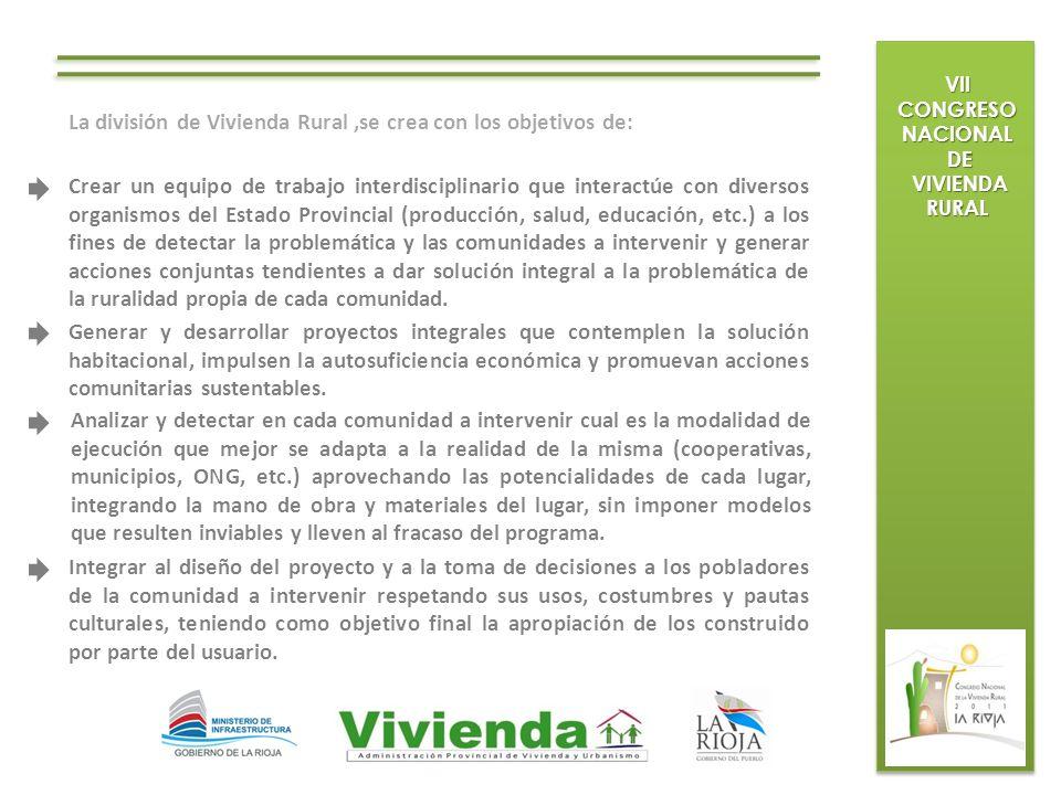 VII CONGRESO NACIONAL DE DE VIVIENDA RURAL VIVIENDA RURAL La división de Vivienda Rural,se crea con los objetivos de: Crear un equipo de trabajo inter
