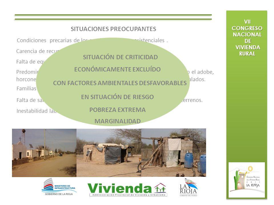 VII CONGRESO NACIONAL DE DE VIVIENDA RURAL VIVIENDA RURAL SITUACIONES PREOCUPANTES Condiciones precarias de los servicios médicos asistenciales. Caren