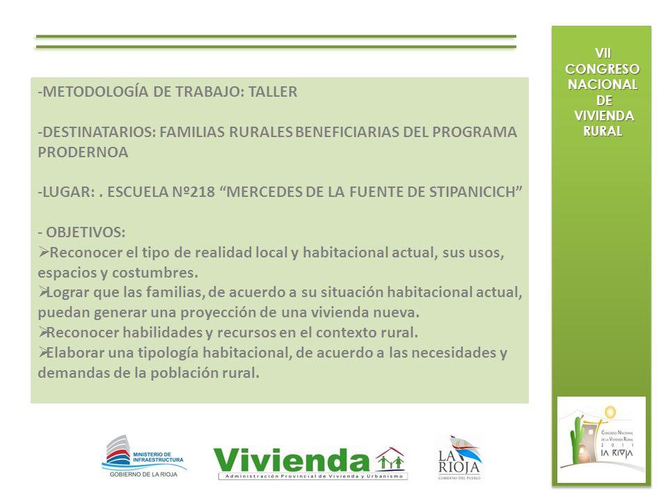 VII CONGRESO NACIONAL DE DE VIVIENDA RURAL VIVIENDA RURAL -METODOLOGÍA DE TRABAJO: TALLER -DESTINATARIOS: FAMILIAS RURALES BENEFICIARIAS DEL PROGRAMA