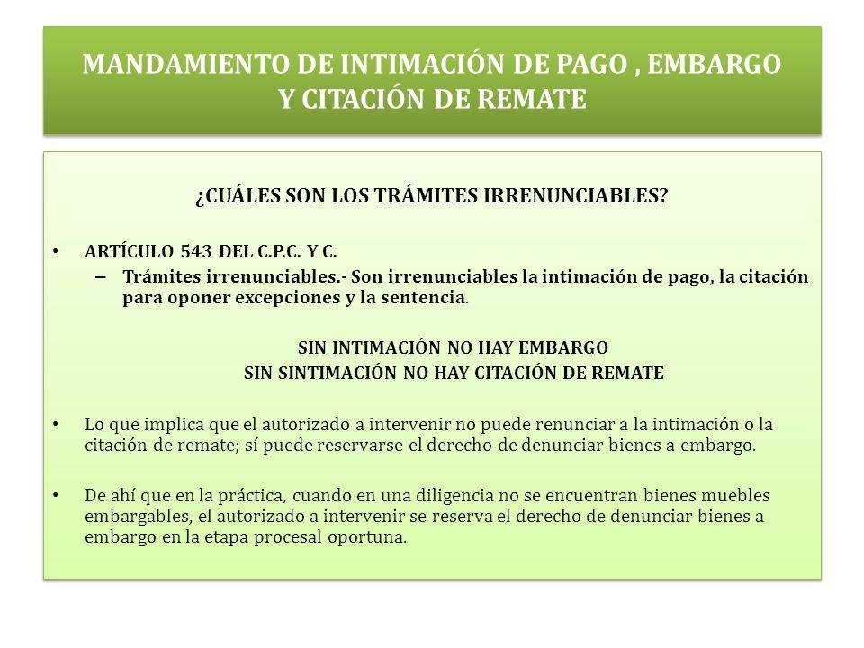 MANDAMIENTO DE INTIMACIÓN DE PAGO, EMBARGO Y CITACIÓN DE REMATE ¿CUÁLES SON LOS TRÁMITES IRRENUNCIABLES.