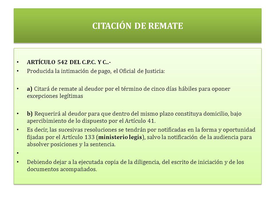 CITACIÓN DE REMATE ARTÍCULO 542 DEL C.P.C.