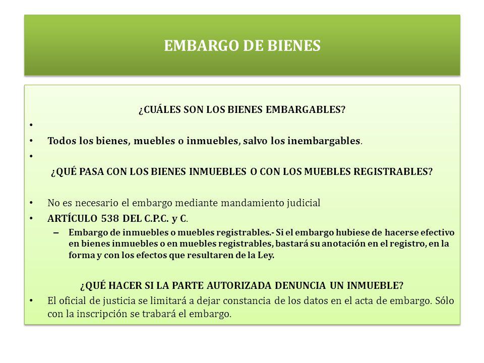 EMBARGO DE BIENES ¿CUÁLES SON LOS BIENES EMBARGABLES.