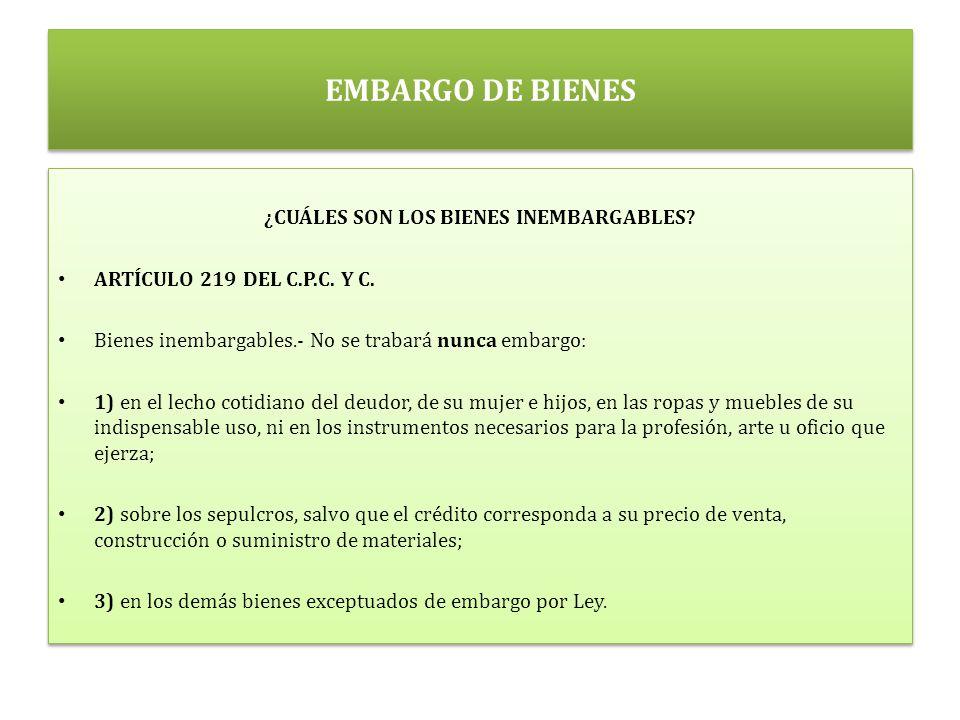 EMBARGO DE BIENES ¿CUÁLES SON LOS BIENES INEMBARGABLES.