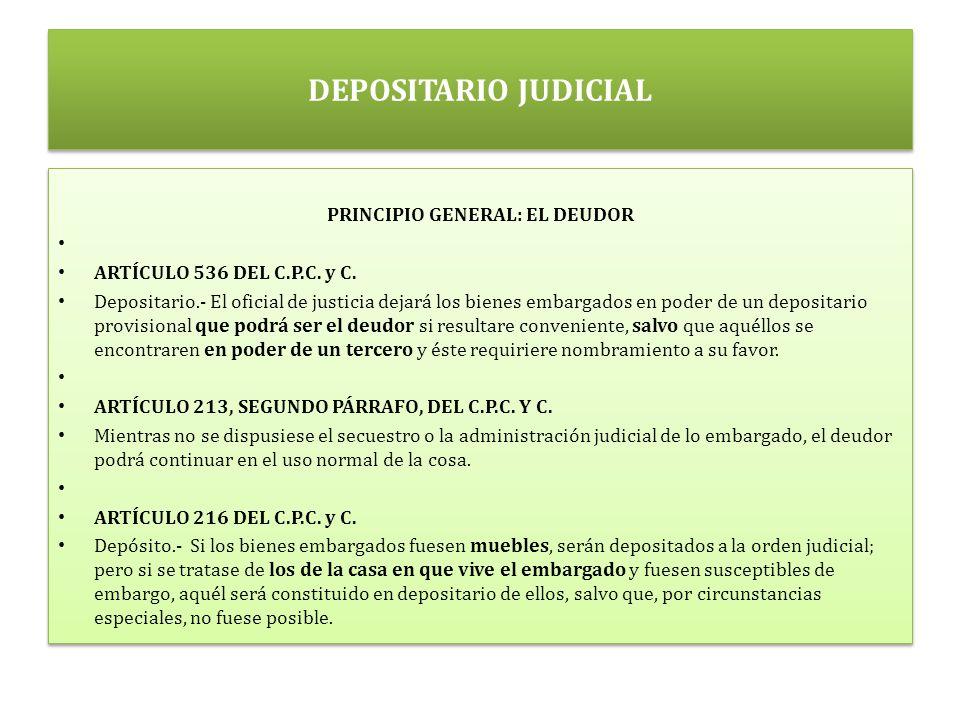 DEPOSITARIO JUDICIAL PRINCIPIO GENERAL: EL DEUDOR ARTÍCULO 536 DEL C.P.C.
