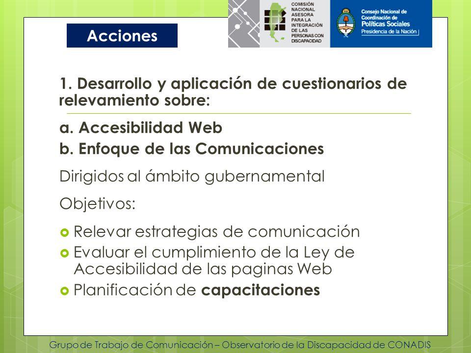 Grupo de Trabajo de Comunicación – Observatorio de la Discapacidad de CONADIS 1. Desarrollo y aplicación de cuestionarios de relevamiento sobre: a. Ac