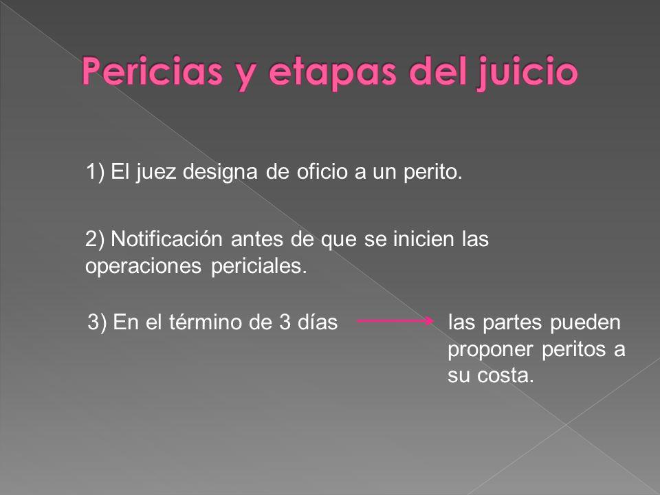 1) El juez designa de oficio a un perito. 2) Notificación antes de que se inicien las operaciones periciales. 3) En el término de 3 días las partes pu