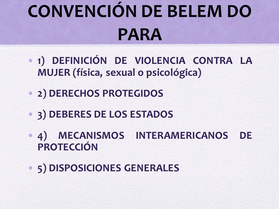 CONVENCIÓN DE BELEM DO PARA 1) DEFINICIÓN DE VIOLENCIA CONTRA LA MUJER (física, sexual o psicológica) 2) DERECHOS PROTEGIDOS 3) DEBERES DE LOS ESTADOS