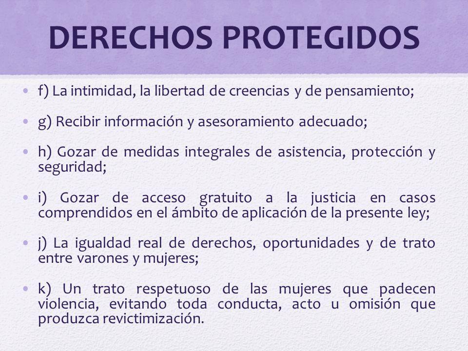 DERECHOS PROTEGIDOS f) La intimidad, la libertad de creencias y de pensamiento; g) Recibir información y asesoramiento adecuado; h) Gozar de medidas i