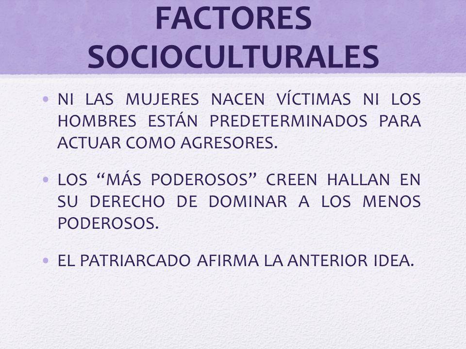 FACTORES SOCIOCULTURALES NI LAS MUJERES NACEN VÍCTIMAS NI LOS HOMBRES ESTÁN PREDETERMINADOS PARA ACTUAR COMO AGRESORES. LOS MÁS PODEROSOS CREEN HALLAN