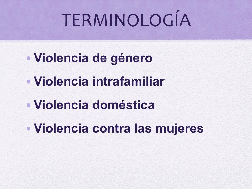 TERMINOLOGÍA Violencia de género Violencia intrafamiliar Violencia doméstica Violencia contra las mujeres
