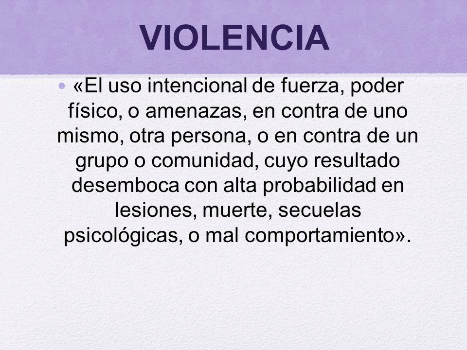 VIOLENCIA «El uso intencional de fuerza, poder físico, o amenazas, en contra de uno mismo, otra persona, o en contra de un grupo o comunidad, cuyo res