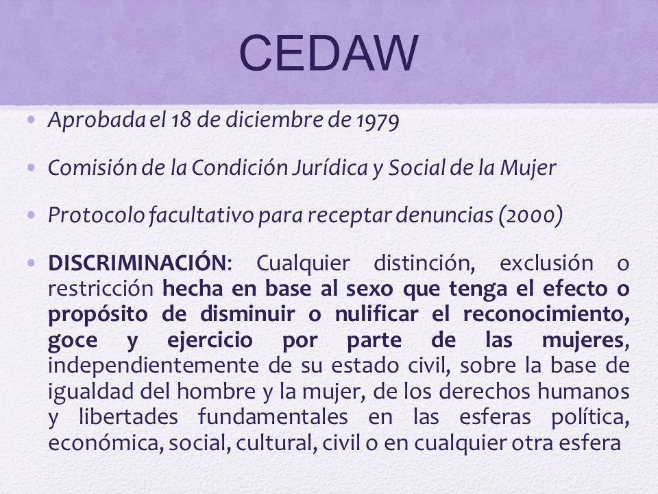 CEDAW: EFECTOS Programa de acción para eliminar la discriminación entre sexos Obligación de consagrar la igualdad de género en las legislaciones nacionales Derogar disposiciones discriminatorias Establecer tribunales e instituciones públicas para garantizar a las mujeres una protección eficaz contra la discriminación