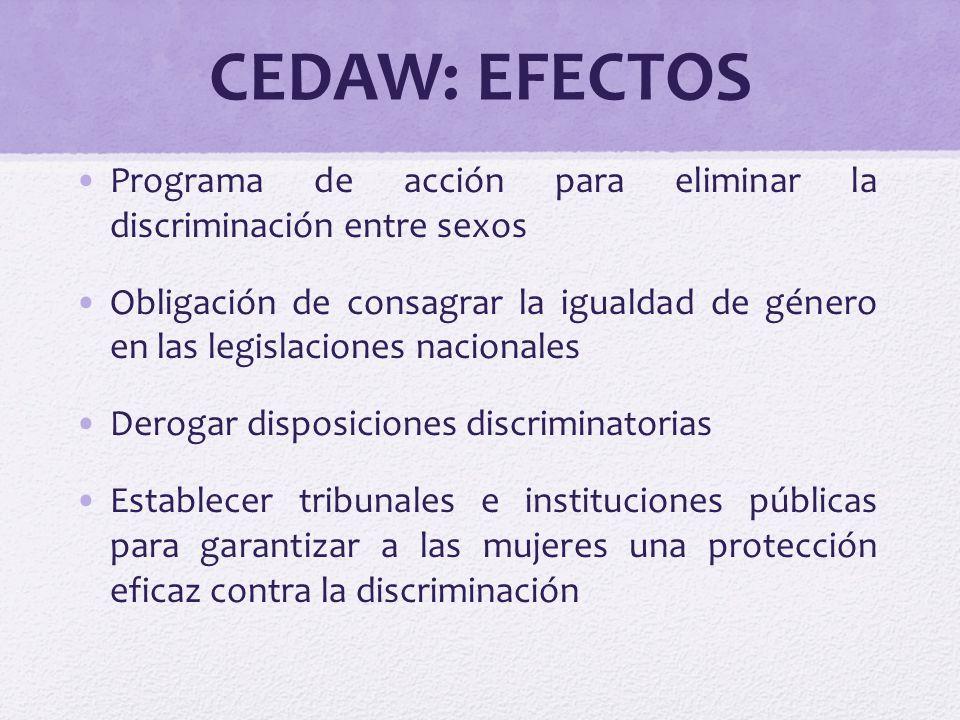 CEDAW: EFECTOS Programa de acción para eliminar la discriminación entre sexos Obligación de consagrar la igualdad de género en las legislaciones nacio