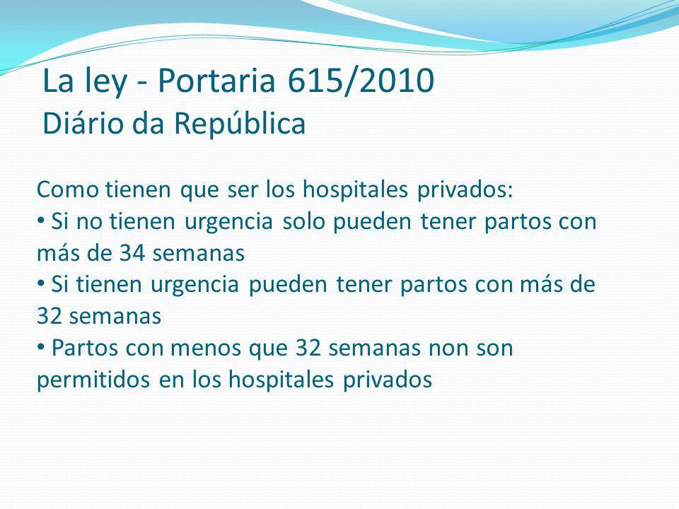 Como tienen que ser los hospitales privados: Si no tienen urgencia solo pueden tener partos con más de 34 semanas Si tienen urgencia pueden tener part