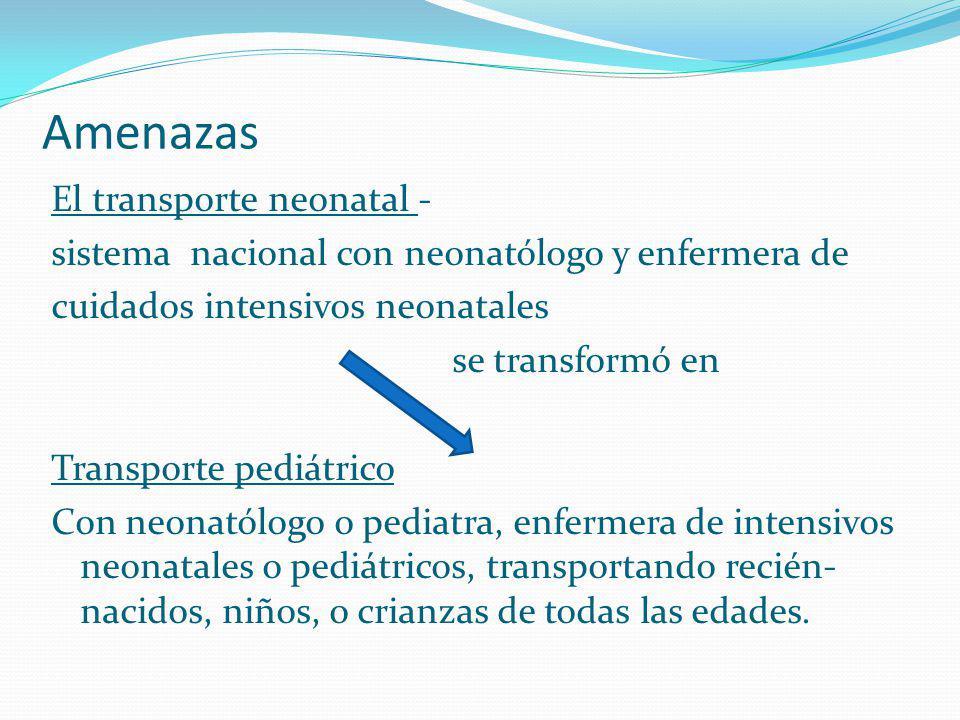 El transporte neonatal - sistema nacional con neonatólogo y enfermera de cuidados intensivos neonatales se transformó en Transporte pediátrico Con neo