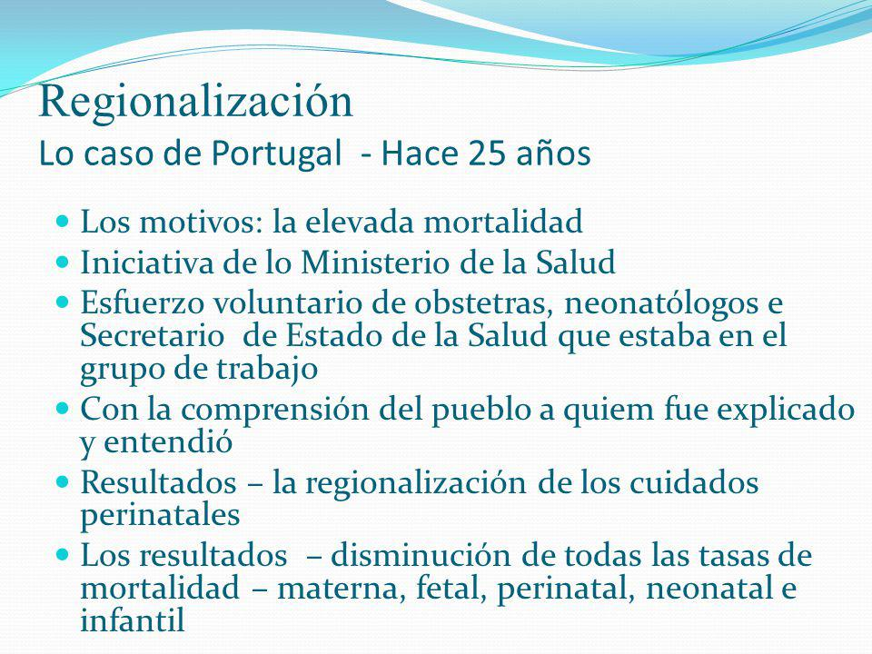 Regionalización Lo caso de Portugal - Hace 25 años Los motivos: la elevada mortalidad Iniciativa de lo Ministerio de la Salud Esfuerzo voluntario de o