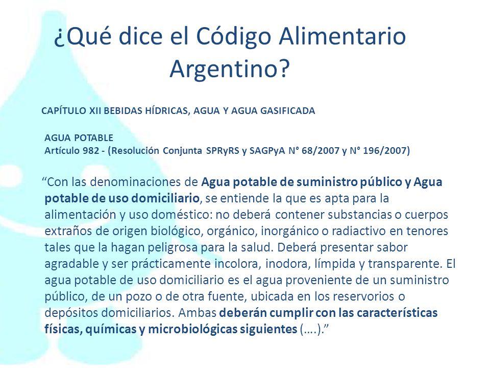 ¿Qué dice el Código Alimentario Argentino? CAPÍTULO XII BEBIDAS HÍDRICAS, AGUA Y AGUA GASIFICADA AGUA POTABLE Artículo 982 - (Resolución Conjunta SPRy