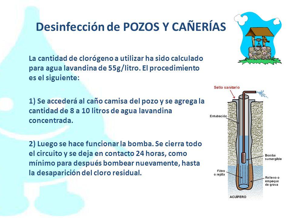 Desinfección de POZOS Y CAÑERÍAS La cantidad de clorógeno a utilizar ha sido calculado para agua lavandina de 55g/litro. El procedimiento es el siguie