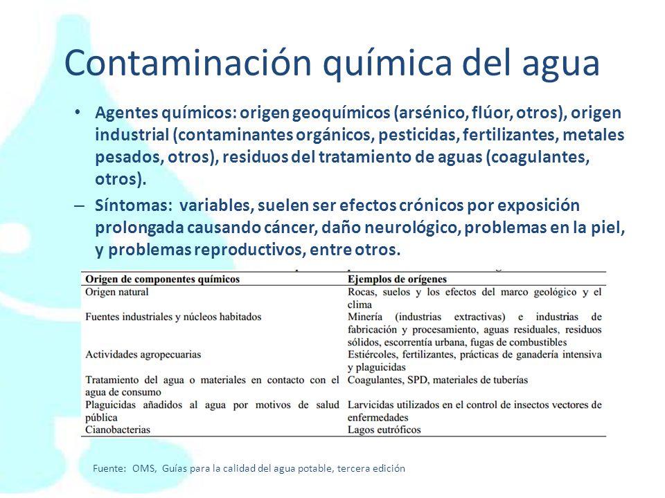 Contaminación química del agua Agentes químicos: origen geoquímicos (arsénico, flúor, otros), origen industrial (contaminantes orgánicos, pesticidas,
