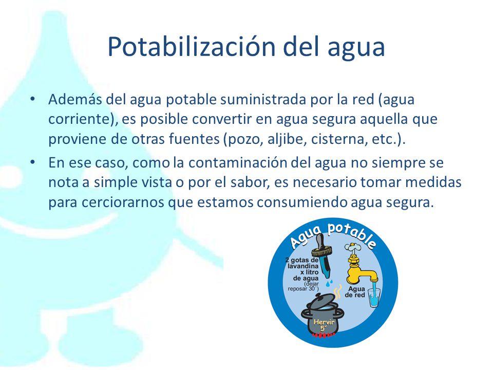 Potabilización del agua Además del agua potable suministrada por la red (agua corriente), es posible convertir en agua segura aquella que proviene de