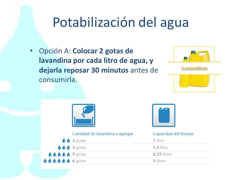 Potabilización del agua Opción B: Otra forma de tratar el agua para que sea segura para nuestra salud es hervirla hasta que salgan burbujas durante 3 a 5 minutos, y esperar a que se enfríe para consumirla.