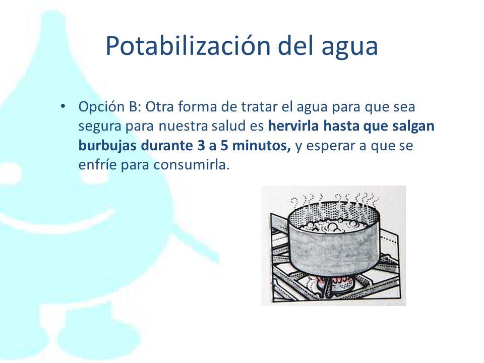 Potabilización del agua Opción B: Otra forma de tratar el agua para que sea segura para nuestra salud es hervirla hasta que salgan burbujas durante 3